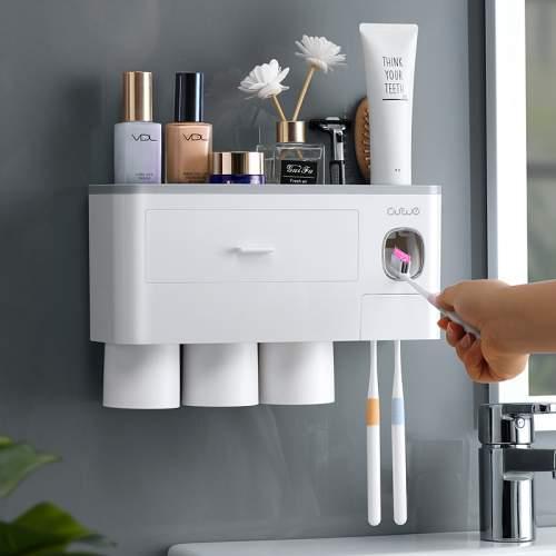 Настенный органайзер для ванной комнаты на 3 персоны с диспенсером зубной пасты