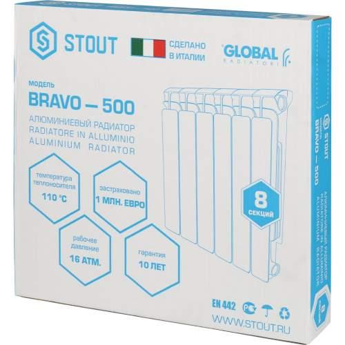 SRA-0110-050008 STOUT Bravo 500 Радиатор алюминевый бок. подкл. 8 секций