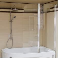 Стеклянная складная шторка на ванну (2 секции)