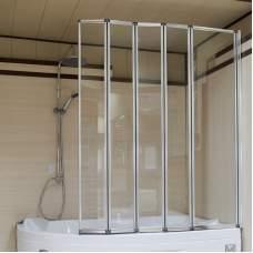 Стеклянная складная шторка на ванну (5 секций)
