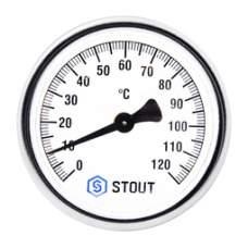 "STOUT Термометр биметал. с погруж. гильзой D/63мм, гил/50мм, 1/2"""