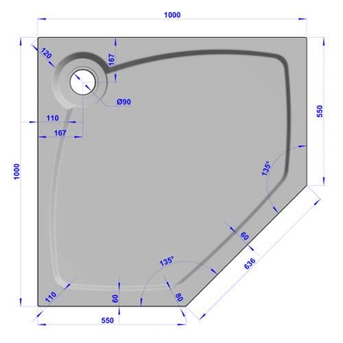 Душевой поддон 100x100x16 см P-терракот